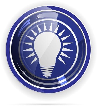 metal light bulb icon: Light bulbs button. Illustration