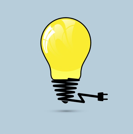 Light yellow bulb. Vector