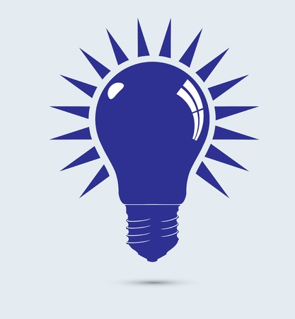 conceptual bulb: Light blue bulb. Illustration