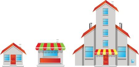 Shop buildings vector format Vector