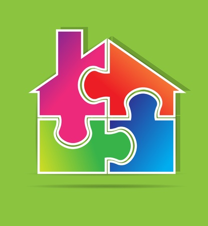 Rompecabezas inmobiliaria formato vectorial
