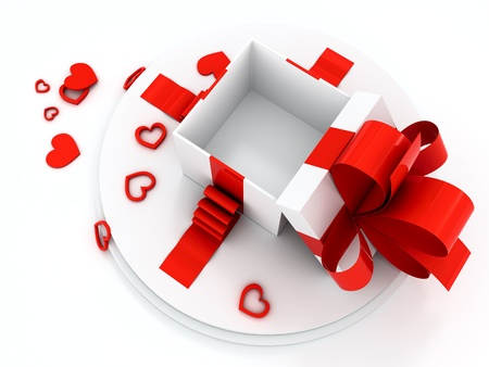 open gift box: Open gift box with red hearts different forms