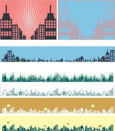 apartment market: Bienes ra�ces banderas de vectores Vectores