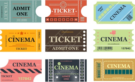 set of cinema tickets vector Vector