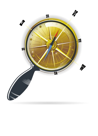 scientific equipment: magnifying search glass compass vector