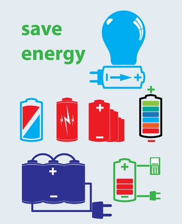 polarity: battery save energy set of icons vector