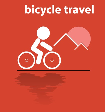 bicycle travel in mountain vector Vector