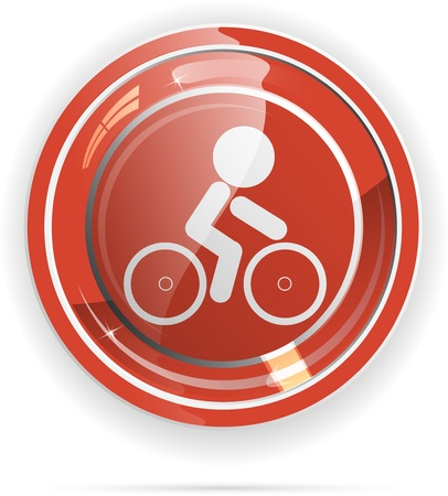 bicycle travel web button vector Vector