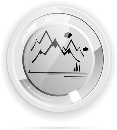 mountain ecological button vector format Vector