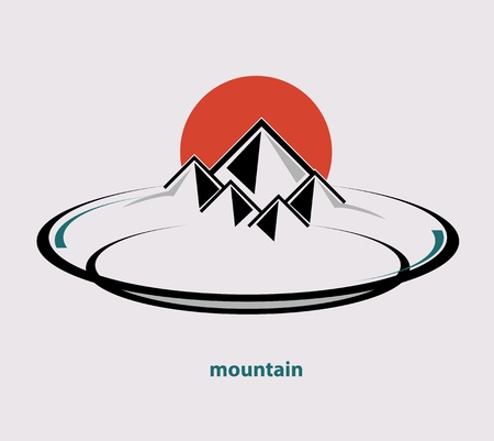 mountain view: Mountain on the plate vector format
