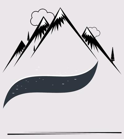 высокогорный: Гора векторном формате Иллюстрация