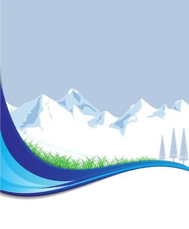 フォーマット: ベクトル形式のテキストのための場所と山  イラスト・ベクター素材