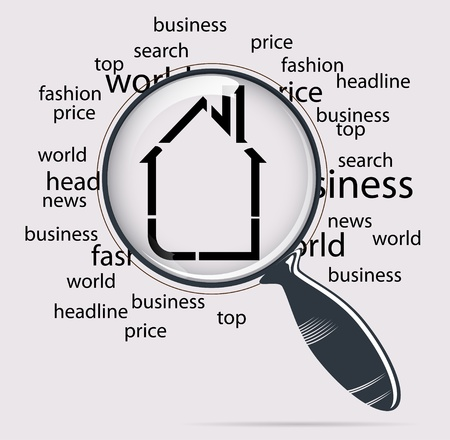 small business: real estate with magnifying glass vector Illustration