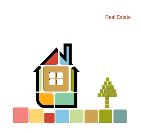 architecture design: real estate house background vector Illustration