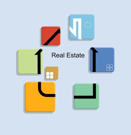 apartment market: bienes inmuebles en las tarjetas de color
