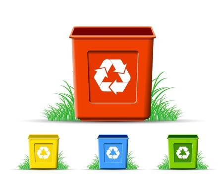 conciencia ambiental: Ser de reciclaje, protecci�n del medio ambiente, en formato vectorial