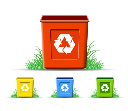 bin: Ser of recycle, environment protection, vector format Illustration