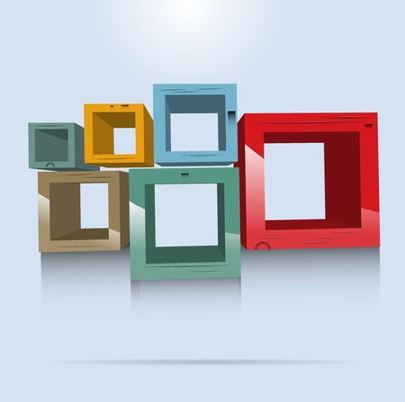 storage container: Square wooden shelves vector format Illustration