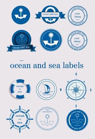 roer: oceaan en de zee labels en stempel vector