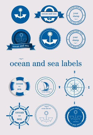 ocean and sea labels and stamp vector Stock Vector - 12463846