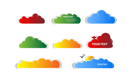 set of colour clouds with sun and birds vector Vector