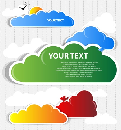 paper plane: cloud background vector Illustration