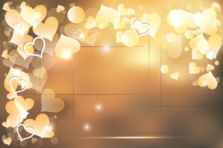 Golden shiny light bokeh with hearts vector background Vector
