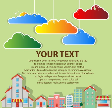 dream house: real estate town with clouds vector Illustration