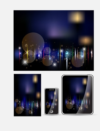 Abstract dark bokeh background for device set vector Stock Vector - 12838323