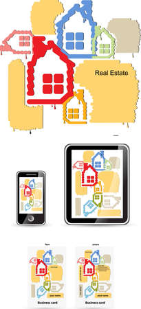 housing styles: real estate style for device set and business card vector