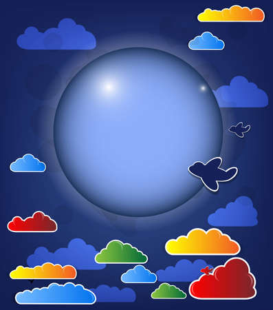 Abstract dark background with moon and clouds vector Vector