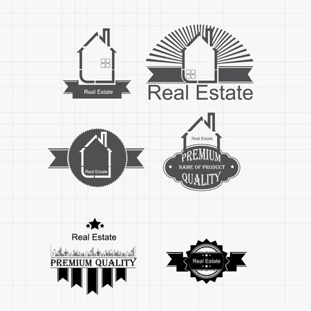 small business concept: Collection of vintage real estate labels vector Illustration