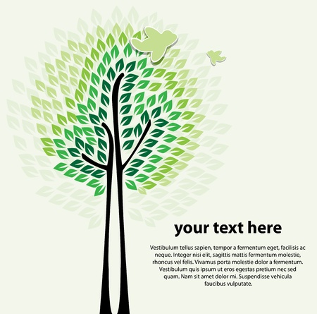 Stylized abstract tree vector Illustration