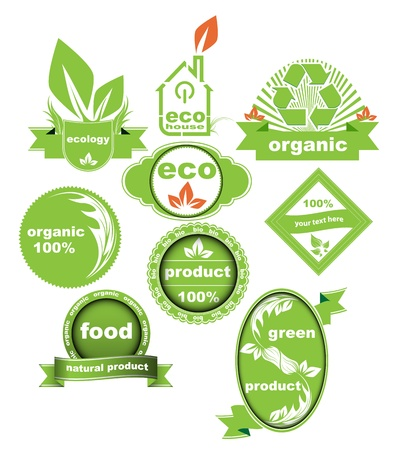 Set of Eco And Bio Labels Elements Vector Collection Vector