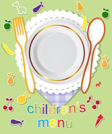 paper plates: childrens menu vector design
