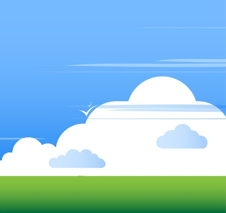 Cloud background with grass vector Vector