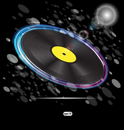 disk jockey: vinyl disc background for text