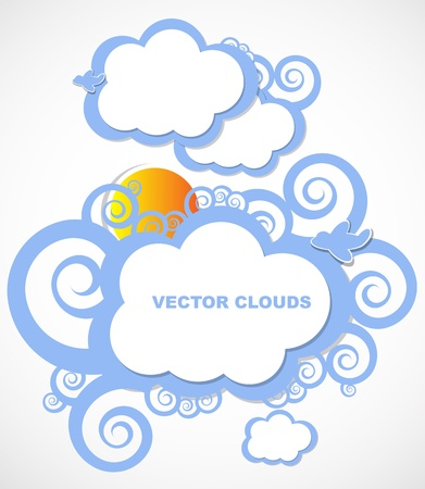 Abstract Stylized Cloud Blue Sky Vector Stock Vector - 13292619