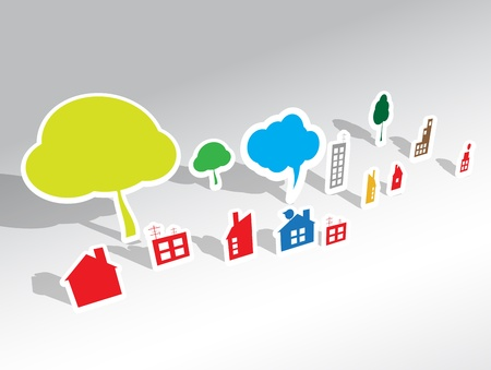 open huis: papier huis vector achtergrond Stock Illustratie