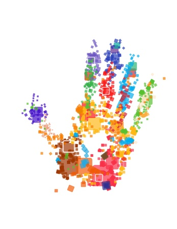 Close up of multicolored hand print on white background Vector