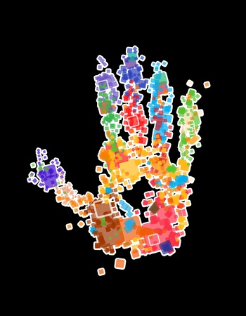 rheumatism: Close up of multicolored Vector X-ray Hand print on black background Illustration