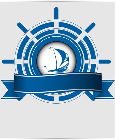ship sky: Sailing ship label in the ocean vector format