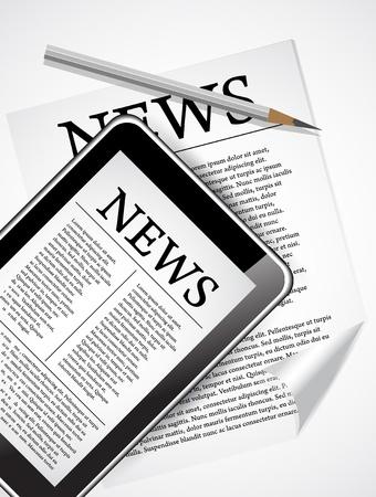 artikelen: Desktop met Tablet PC en de krant, die nieuwe zakelijke nieuws laat zien