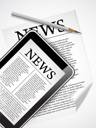 newspaper articles: Desktop with Tablet PC and Newspaper which shows fresh business news