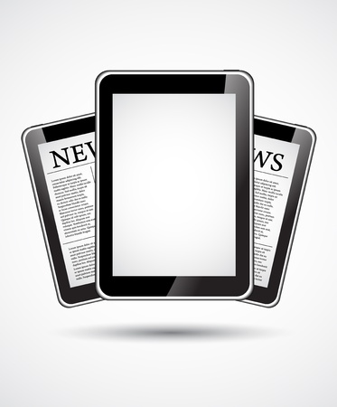 article marketing: Set of Tablet PC which shows fresh news Illustration