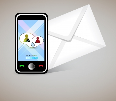 Smart phone send and recive letters Vector