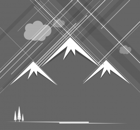 Abstract raining mountains with clouds Vector