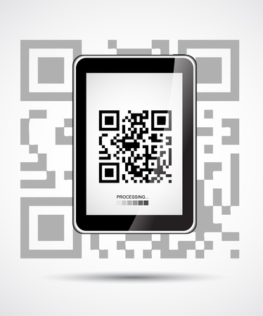 Desktop with Tablet PC which shows QR code Vector