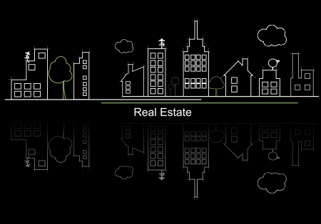 real estate background: city real estate circuit project Illustration