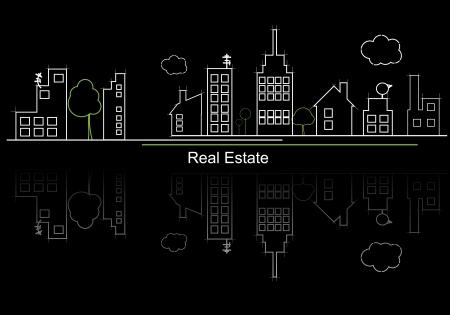 viviendas: la ciudad de bienes raíces del proyecto de circuito Vectores